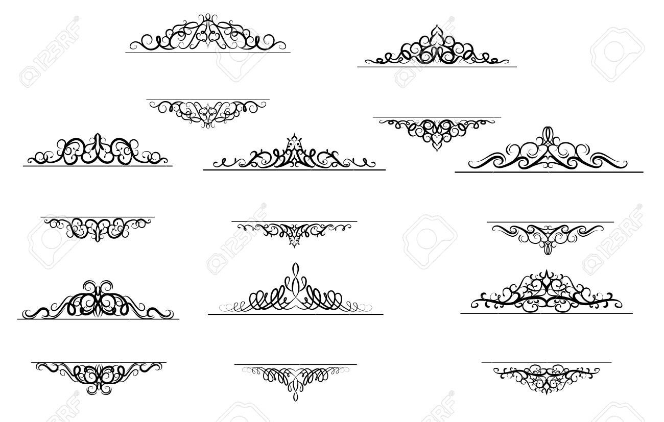 Vintage Vector Swirl Frame Set Aff Vector Vintage Swirl Set Frame In 2020 Graphic Design Art Triangle Tattoo Art Sketches