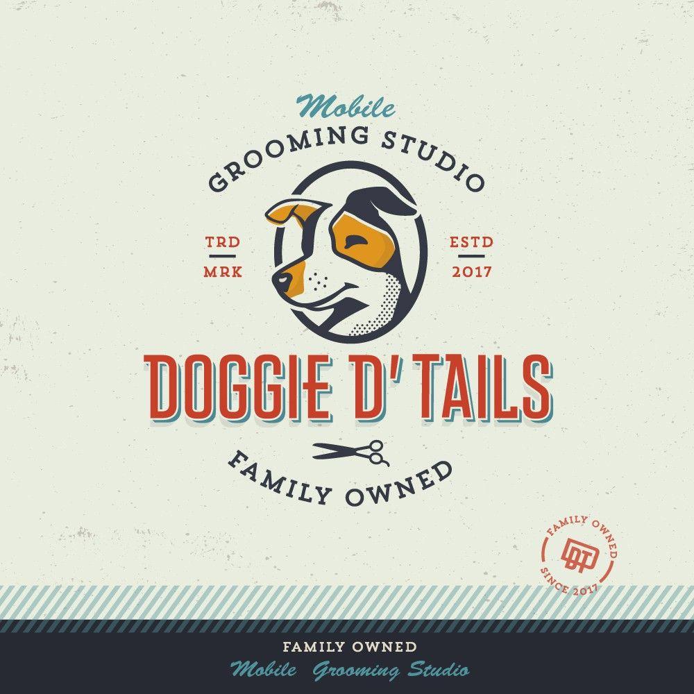 Retro Inspired Logo Design By Spoonlancer For Mobile Dog Grooming Studio Monogram Illustration Branding Dog Logo Design Pet Logo Design Retro Dog