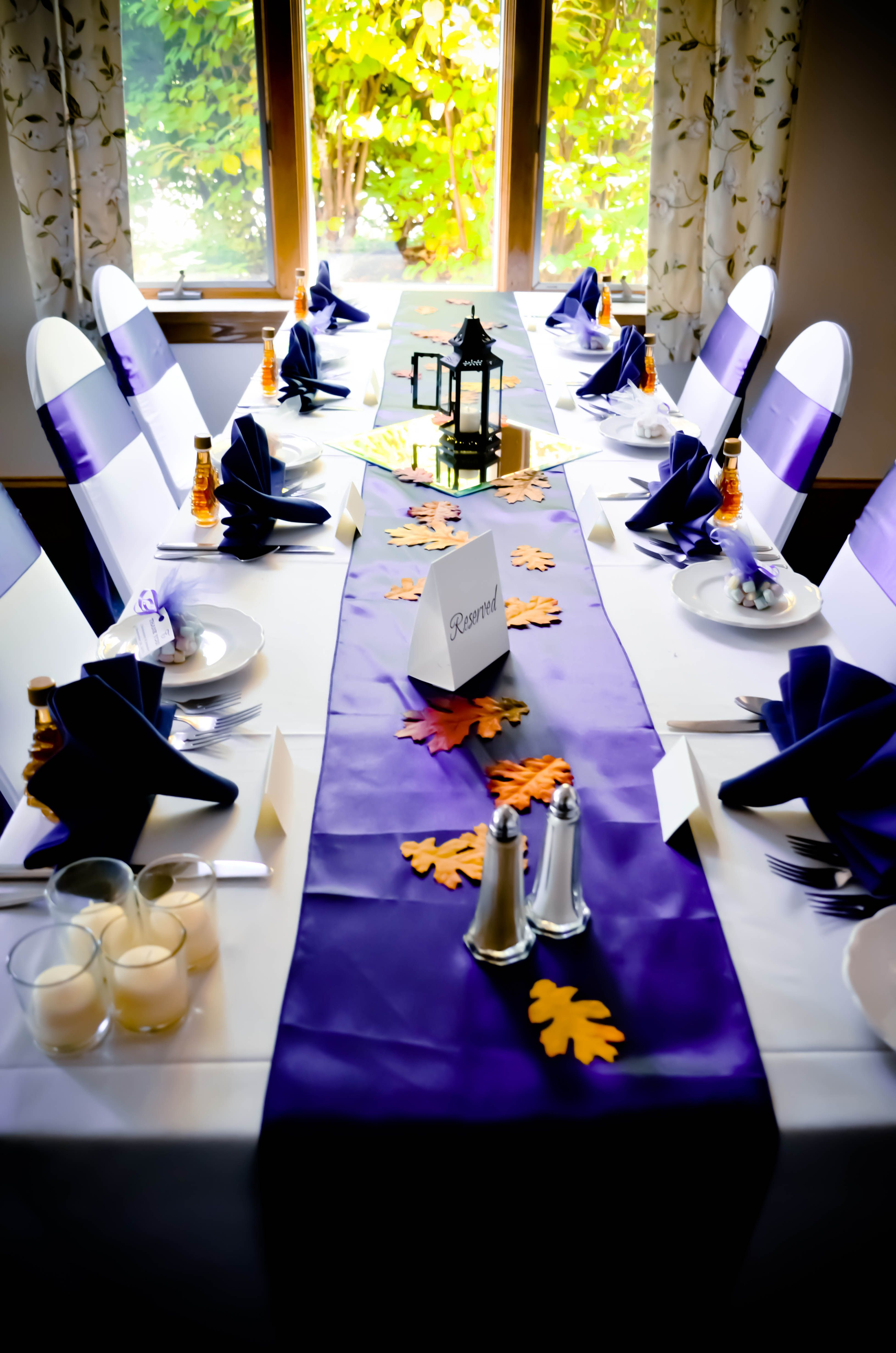 Ivory Spandex Chair Covers Navy Blue Satin Sashes & Table Runners