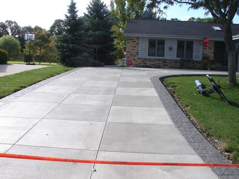 Scored Modern Concrete Driveways , Without The Stamped Side Boarder