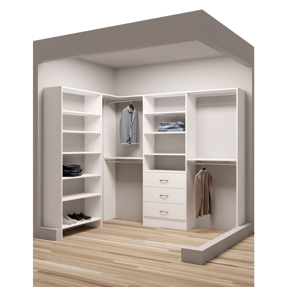 Exceptional TidySquares Classic White Wood Corner Walk In Closet Organizer | Overstock.com  Shopping