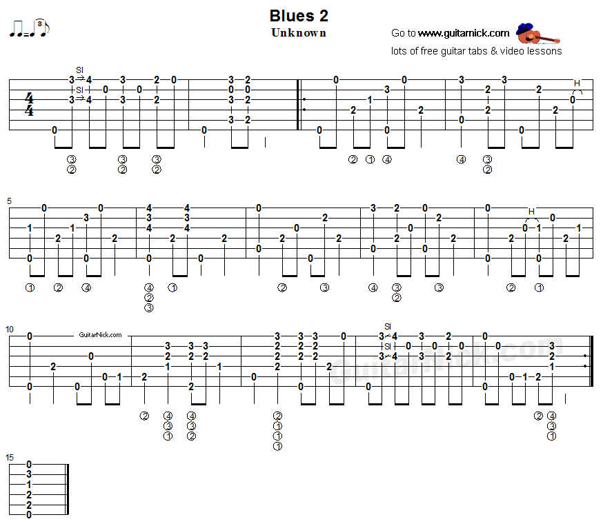 Guitar Chord Tabs: Blues 2 - Fingerstyle Acoustic Guitar Tab
