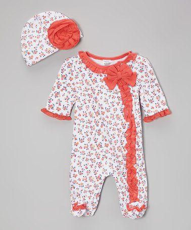 Another great find on #zulily! Peach Floral Footie & Beanie by Baby Essentials #zulilyfinds