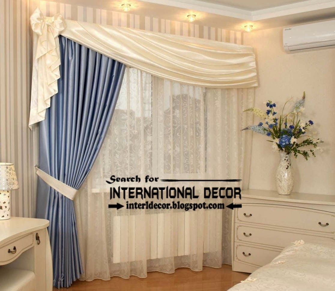 Modern curtains designs bedroom - Unique Bedroom Curtain Design Blue And White Curtains