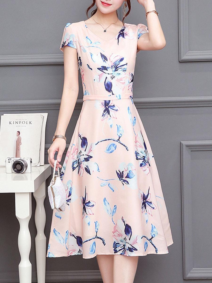 5bf442213c Fashionmia - Fashionmia V-Neck Floral Printed Midi Chiffon Skater Dress -  AdoreWe.com
