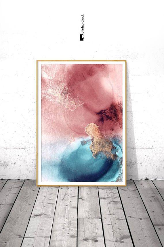 Navy Blush Wall Art Blue Pink Abstract Print Digital Etsy Abstract Blush Walls Blue Abstract Art