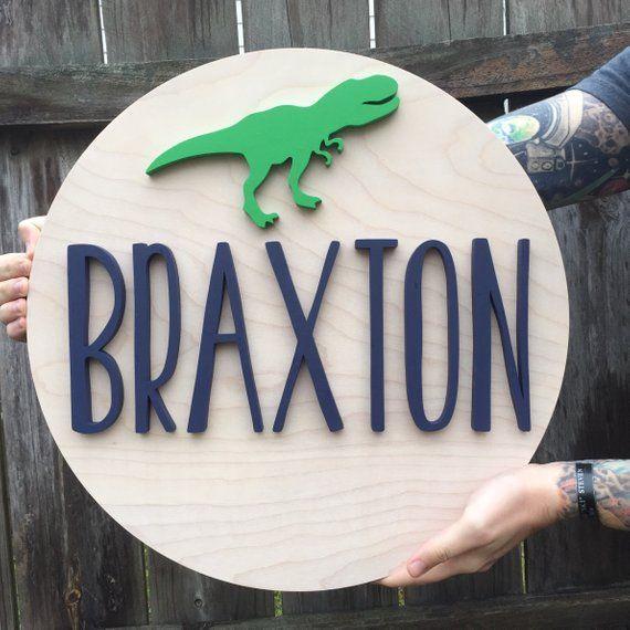 18 Round Dinosaur Wood Sign, Dinosaur Nursery Sign, T Rex Sign, Dinosaur Nursery, Wood Name Sign, Wood Cutout, Nursery Decor #dinosaurnursery