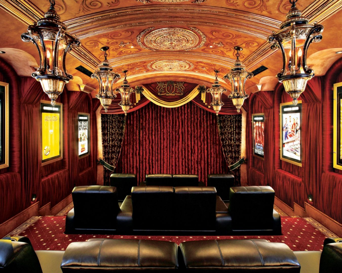 Red Traditional Home Theater Home Theater Seating Home Theatre Interior
