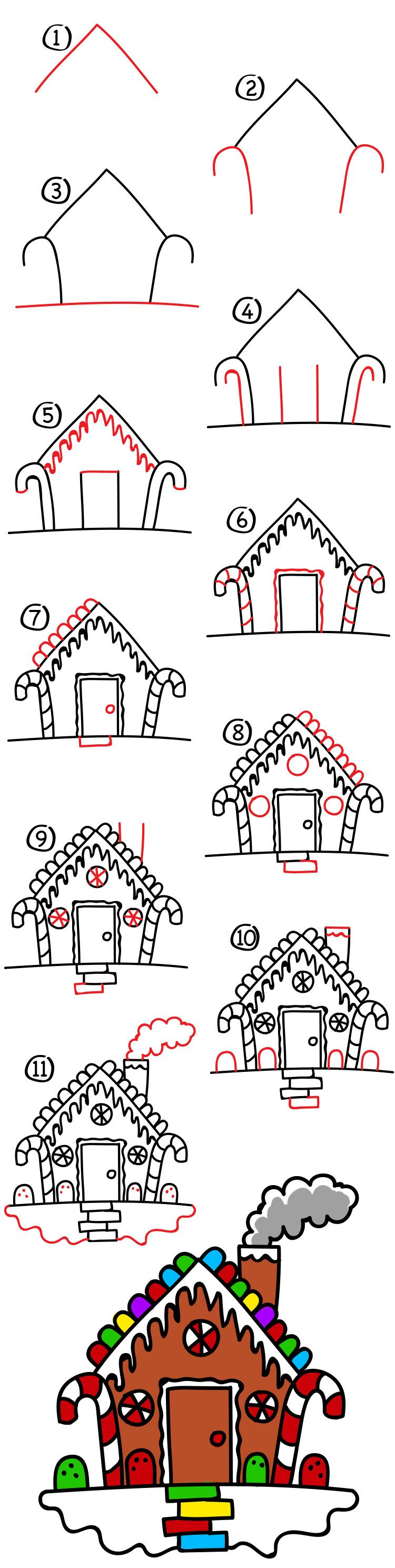 How To Draw A Gingerbread House   Art For Kids Hub