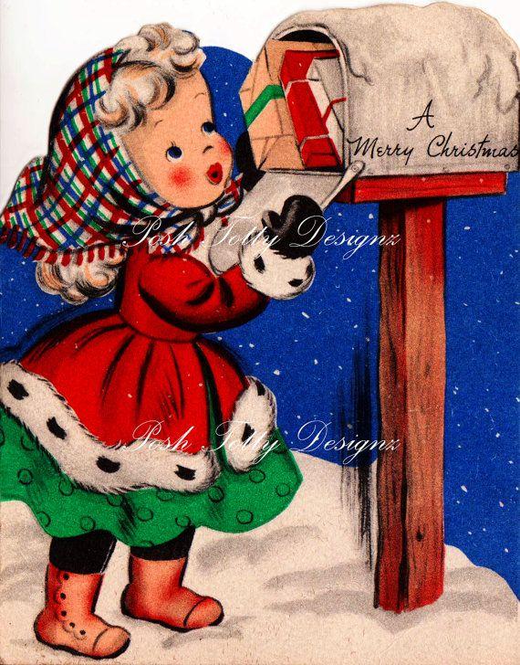 A Little Girl Posting Christmas Letters by poshtottydesignz                                                                                                                                                                                 もっと見る