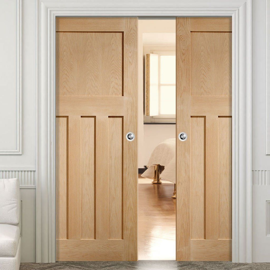 Double Pocket Dx Oak Panel Door In A 1930 S Style Double Pocket Door Double Doors Interior 1930s House Interior