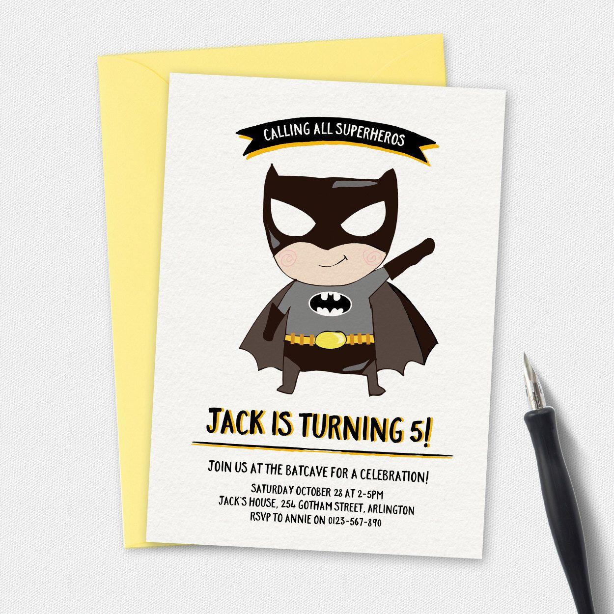 Batman Invitation, birthday invitation, kids invitation, Custom ...