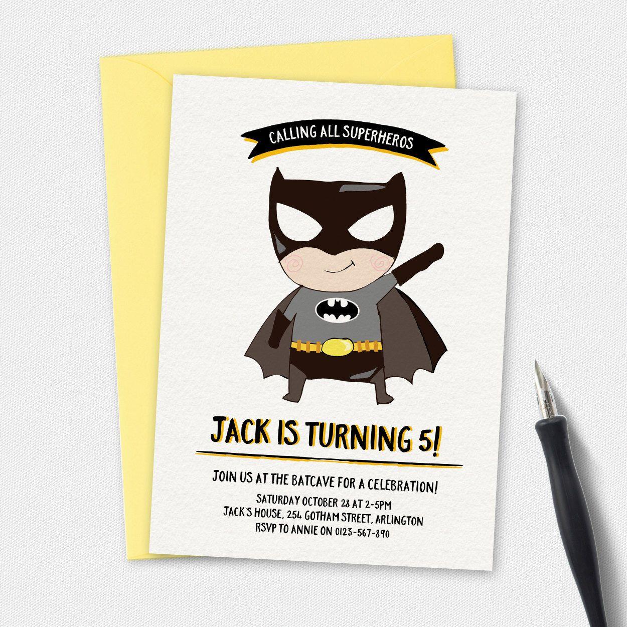Batman Invitation, birthday invitation, kids invitation, Custom ...