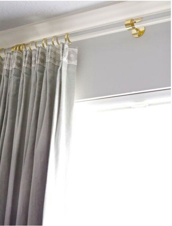 Lucite Curtain Rod Polished Brass Satin Brass Or Nickel Etsy