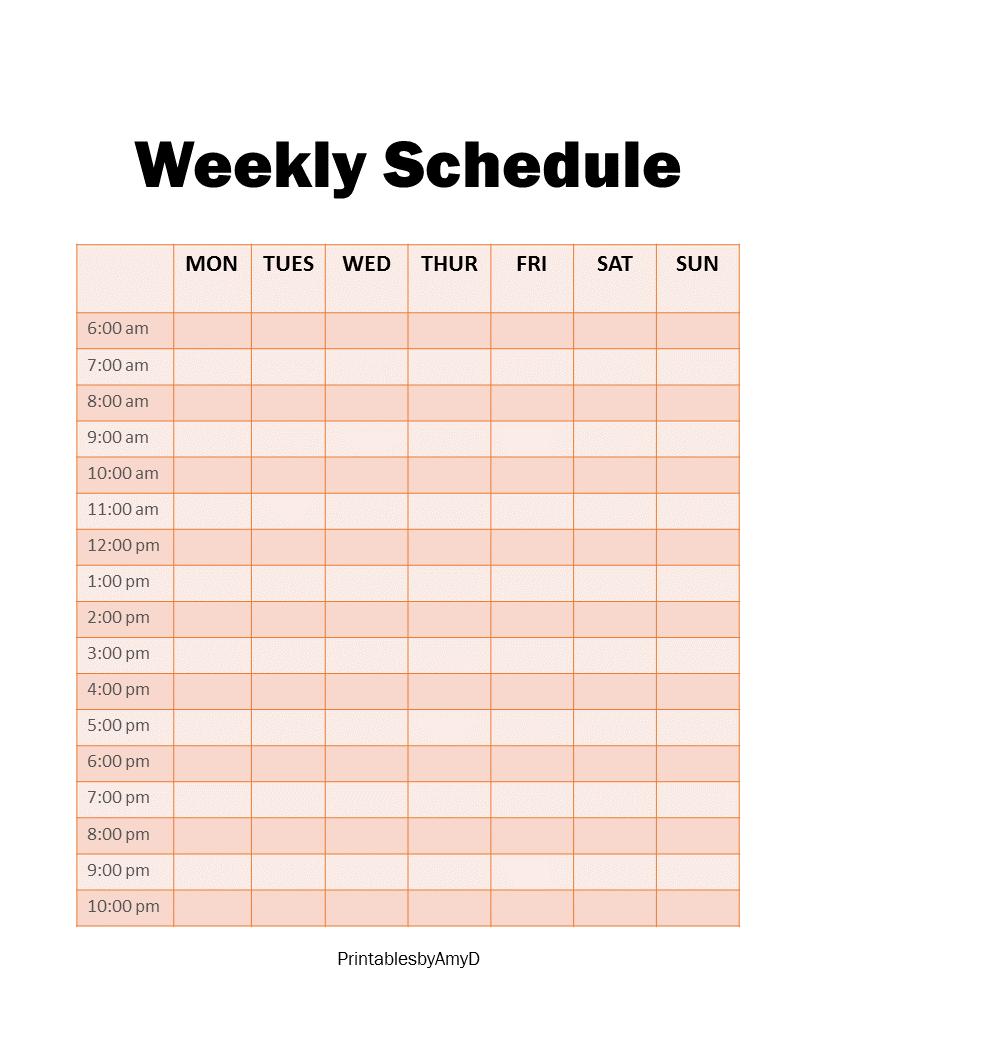 Weekly Schedule Planner Weekly Schedule Weekly Schedule Planner Schedule Planner