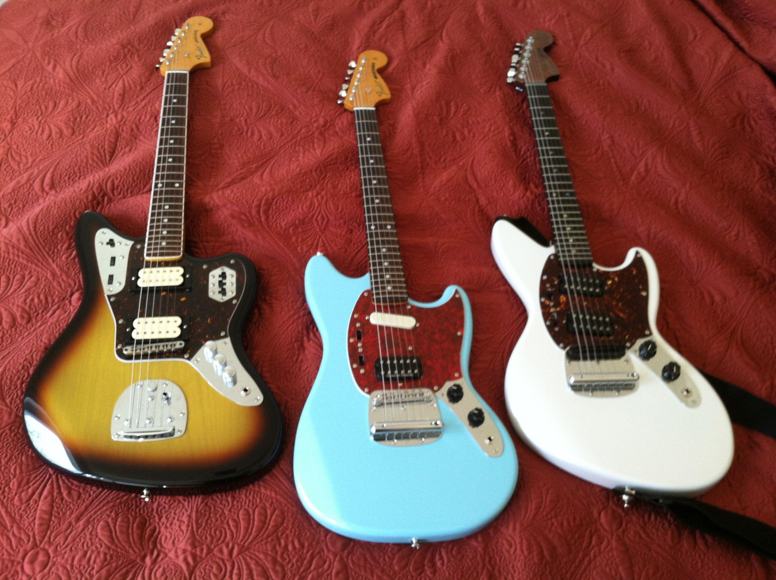 Fender Japan Jaguar, Mustang, Jagstang. All Kurt Cobain guitars.