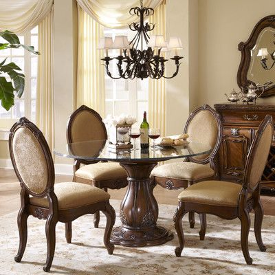 Michael Amini Lavelle Melange Round Glass Top Dining Table In 2019