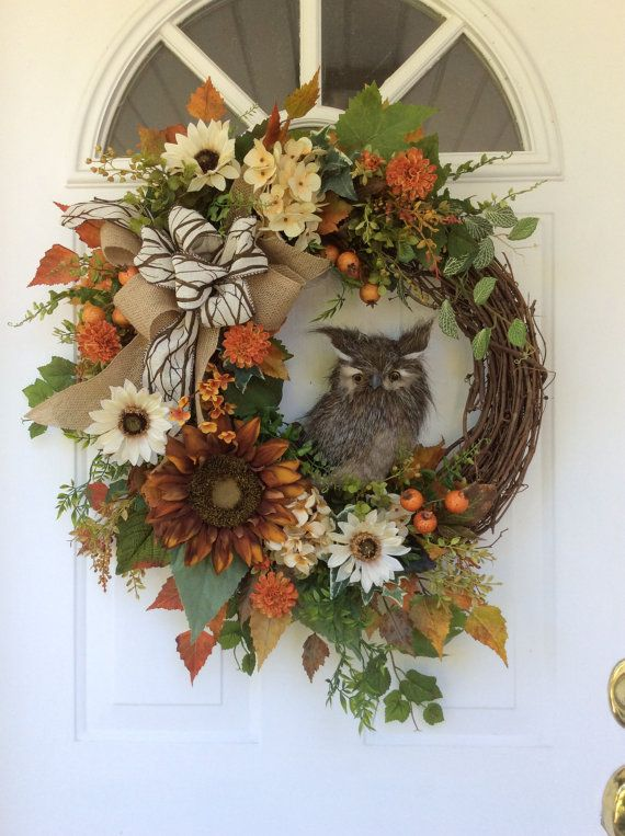FALL Wreath-Owl Wreath-Autumn Wreath-Regina's by ReginasGarden