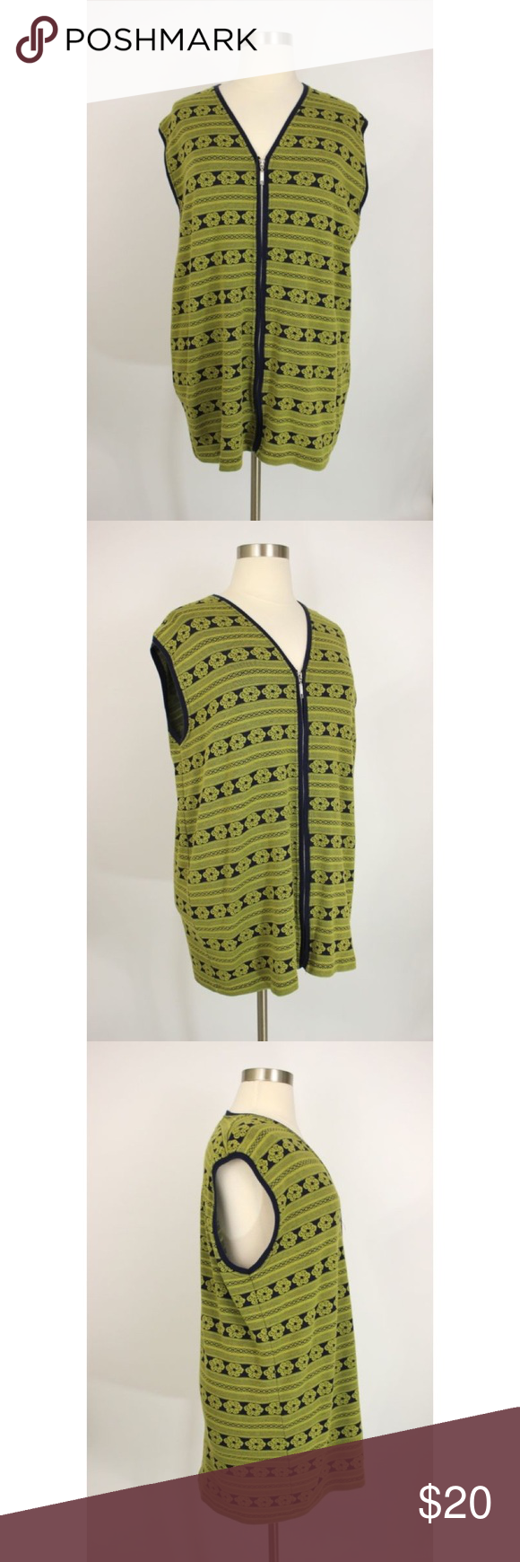 Ulla Popken Green Floral Zip Front Sweater Vest | Printed cotton ...