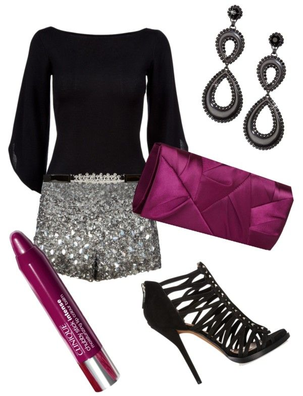 """glitter shorts & plum"" by k-simanb on Polyvore"