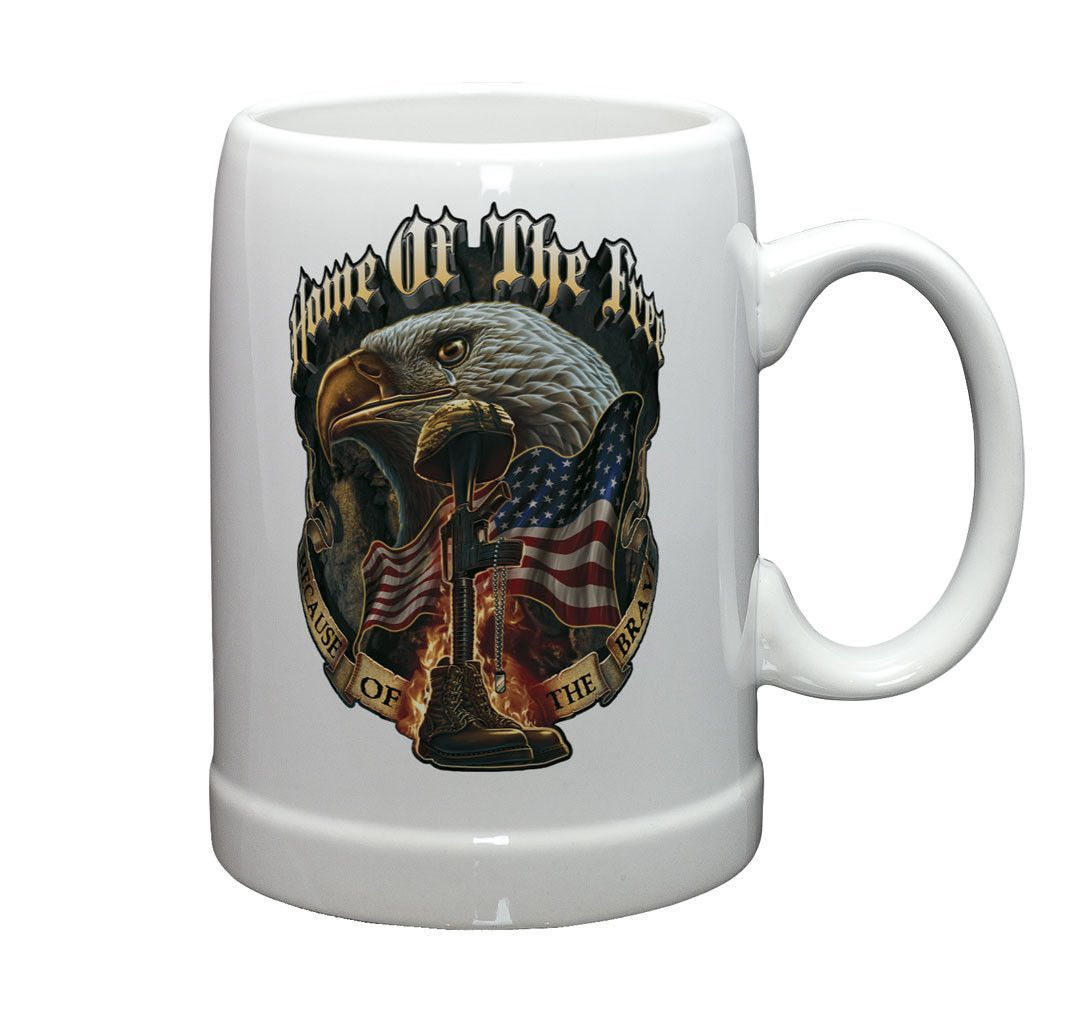 TR-Stoneware-Home of the Free Because of the Brave-STEIN-20oz