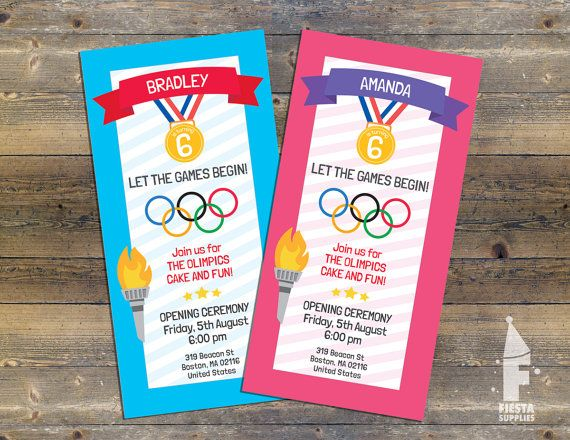 Olympics Birthday Invite Let The Games Begin Par Fiestasupplies