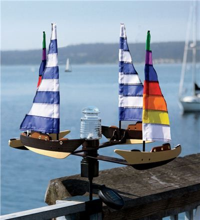 Solar And Wind Powered Sailboat Spinner With Led Beacon