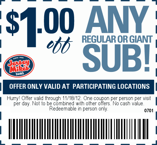 Jersey Mike S Subs 1 Off Printable Coupon Printable Coupons Restaurant Coupons Coupons