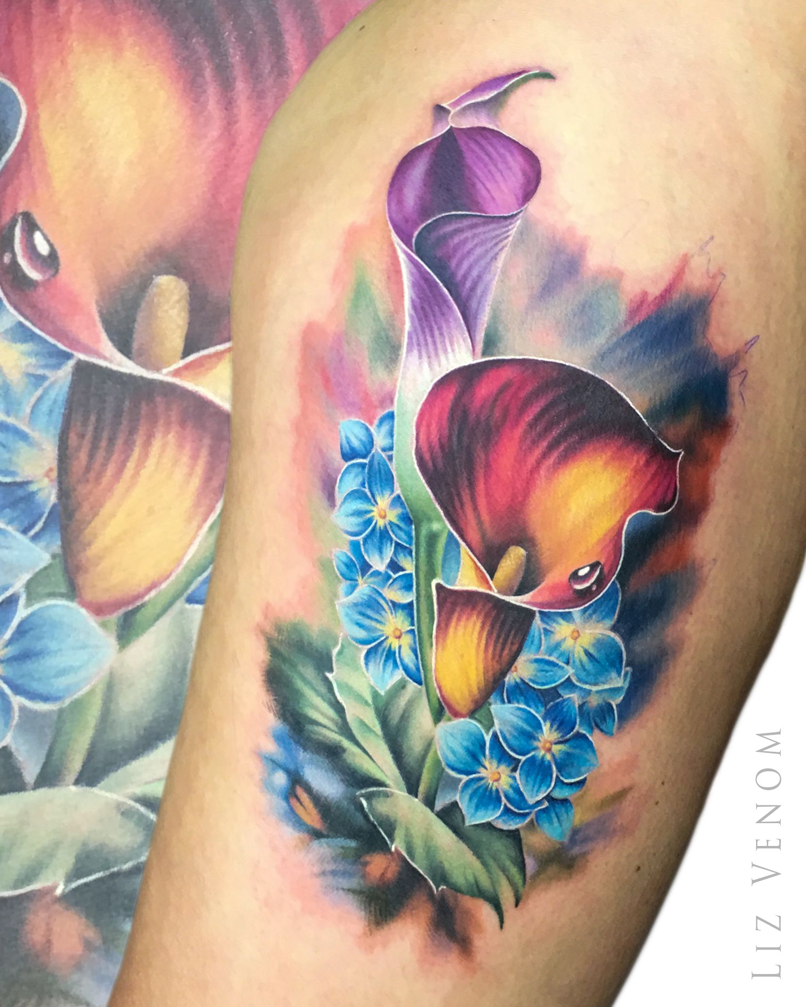 A Beautiful Cala Lily And Hydrangea Tattoo I Did That Was Inspired By The Amazing Igor Levashov Ink Realistic Flower Tattoo Lily Tattoo Sleeve