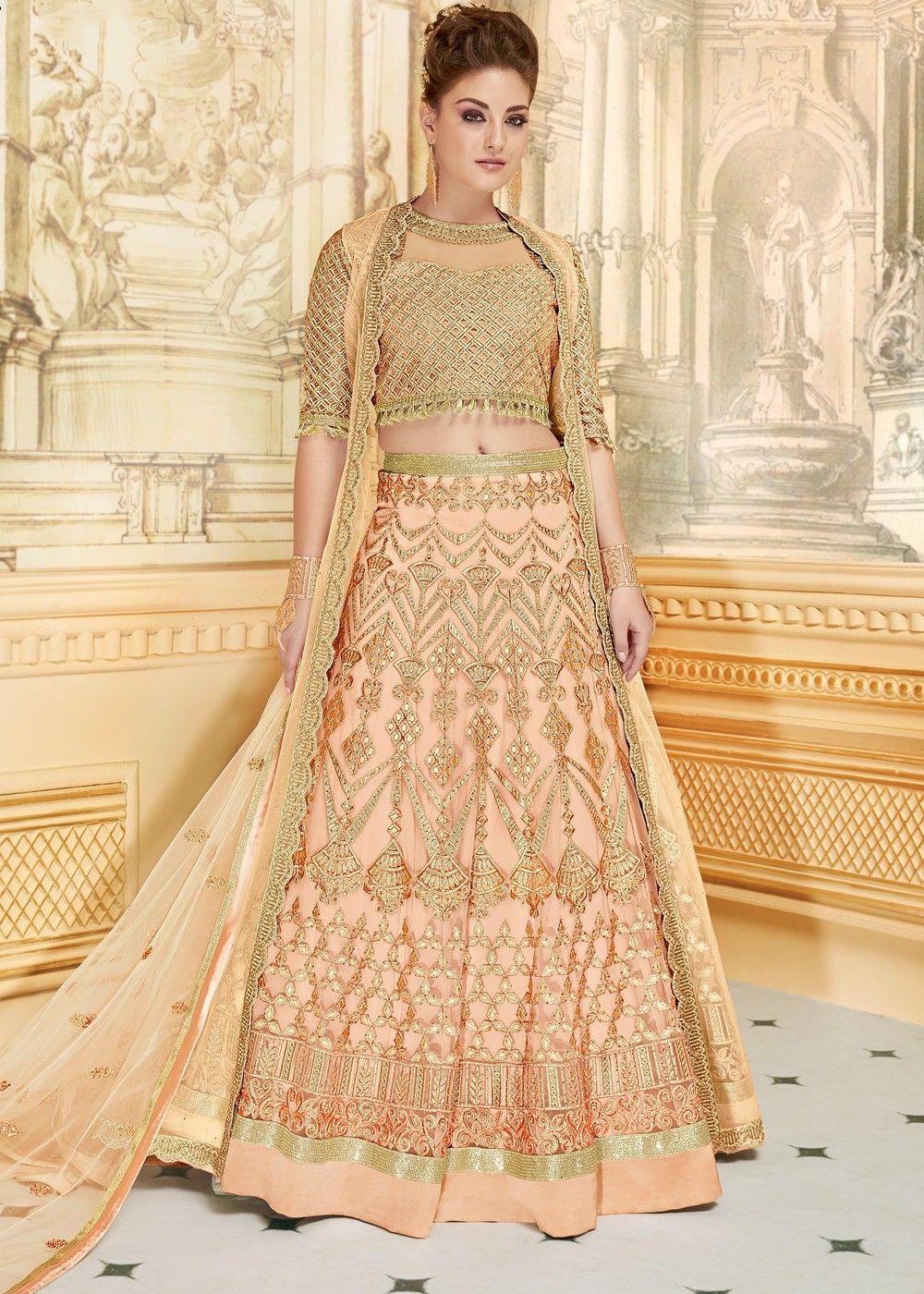 Peach net embroidered lehenga choli with jacket in eid