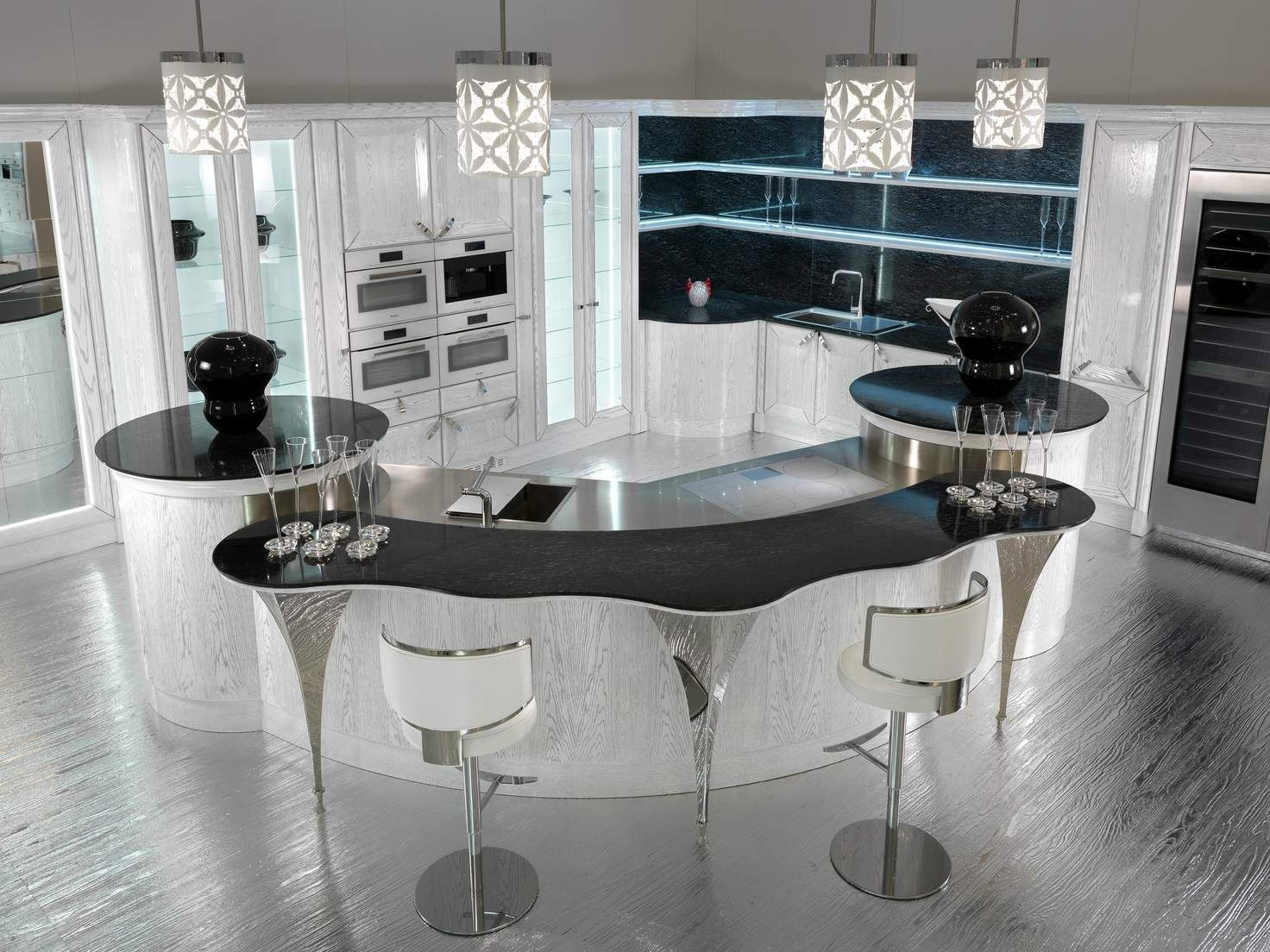 Lacquered oak kitchen with island dolce vita by brummel cucine
