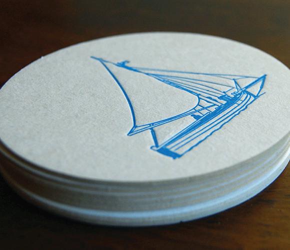 sailboat letterpress coasters