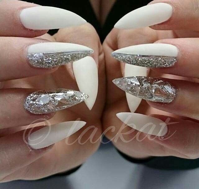 White And Silver Glitter Gel Nails Gel Nails Silver Glitter Nails Nails