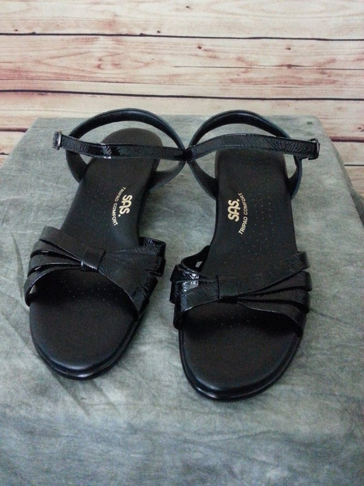 dd64565635c6 SAS tripad comfort sandals shoes womens size 8.5 M black patent leather  sas   Strappy