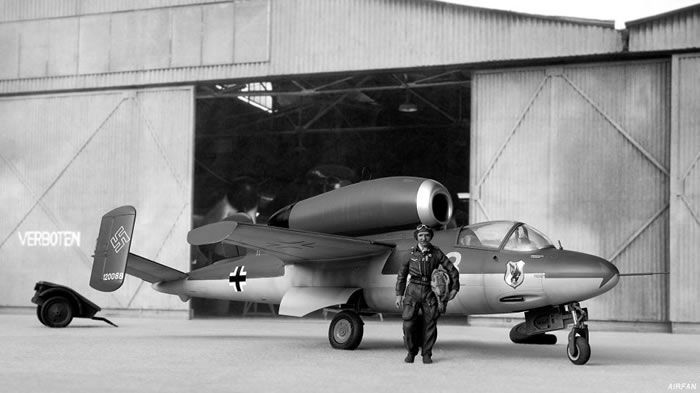 Heinkel He 162 Volksjager (People's Fighter) aircraft and pilot.