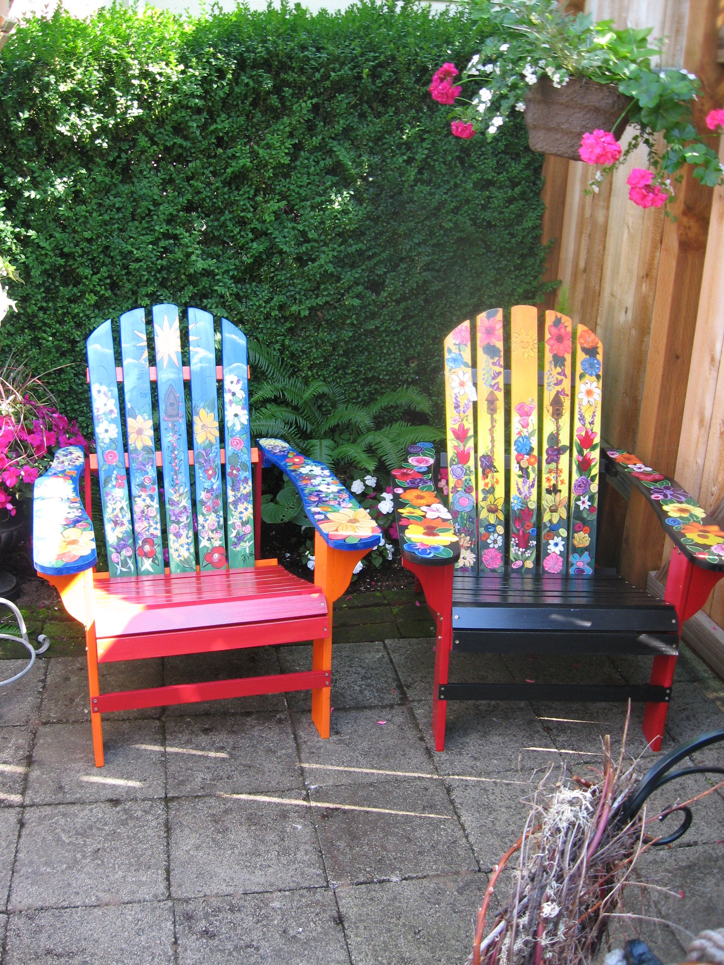 Garden Adirondack Chairs Painted Chairs Diy Whimsical Painted
