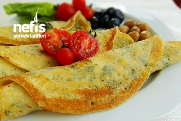Squash ve peynir ve sarımsak ile krep: basit yemek tarifleri