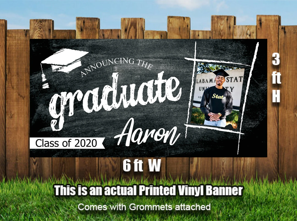 Personalized Graduation Photo Banner Heavyweight Vinyl Designed Printed Shipped In 2020 Graduation Photo Banner Personalized Graduation Banner Graduation Banner