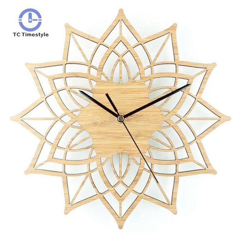 Natural Wood Lotus Modern Wooden Wall Clock Fashion Creative