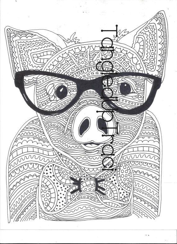 detailed and intricate pig zentangle coloring page to download and color