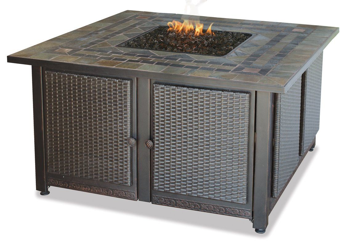 Gas Firebowl With Slate Tile Mantel Fireplace Fire Pit