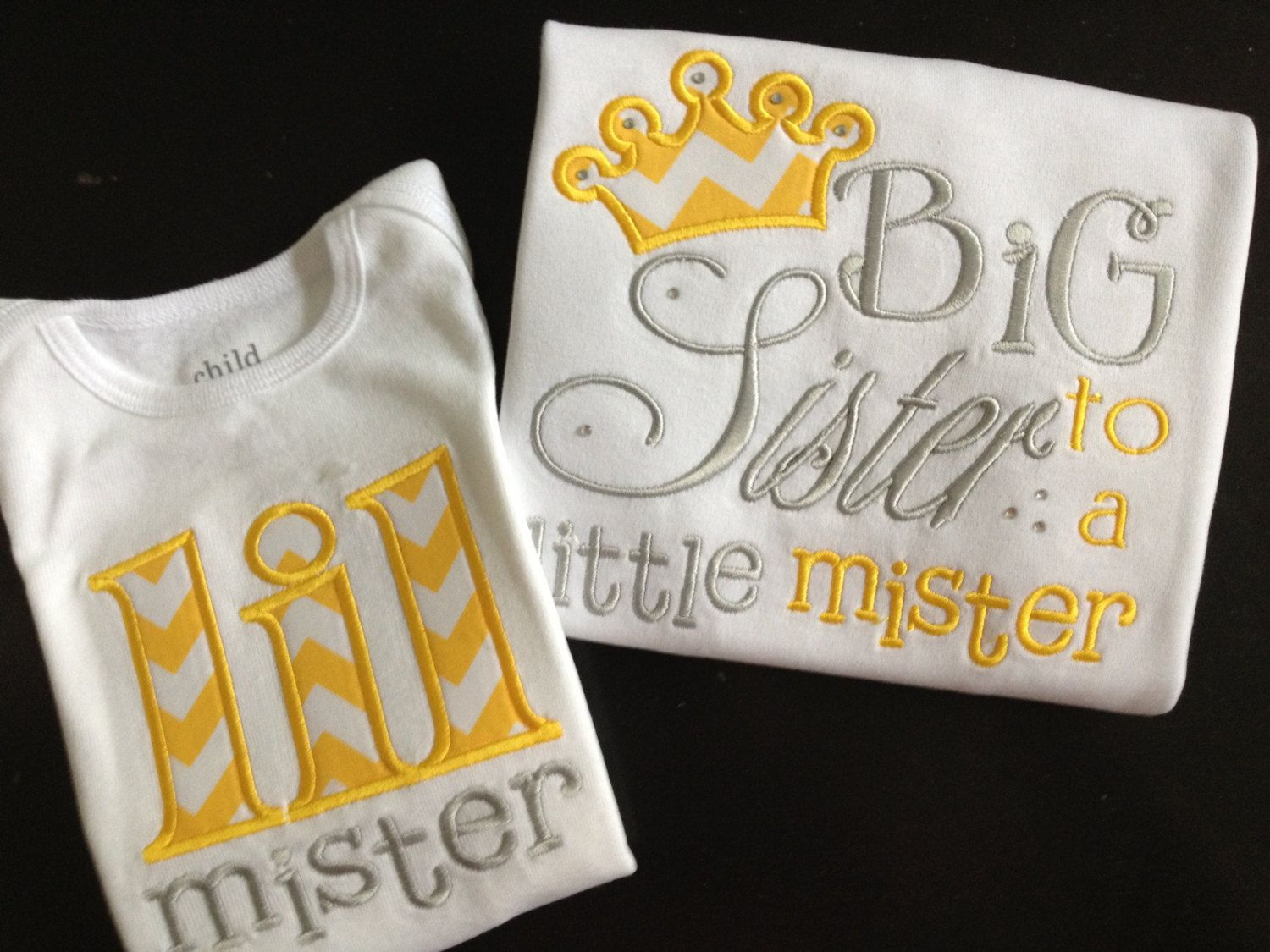 Big Sister / Little Brother Shirt Set Yellow by CharlottesStitch, $43.00 - Big Sister / Little Brother Shirt Set Yellow By CharlottesStitch