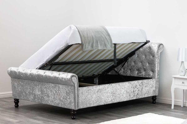 Peachy St James Silver Crushed Velvet Sleigh Ottoman Storage Bed Pdpeps Interior Chair Design Pdpepsorg