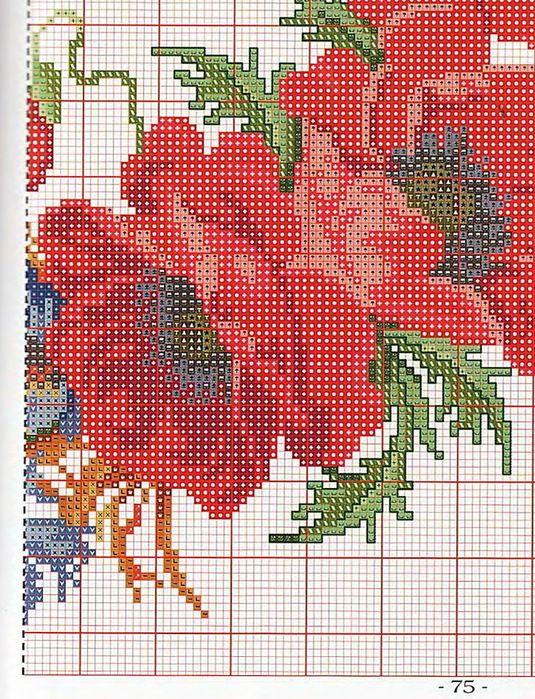 Вышивка цветы маки схемы крестом