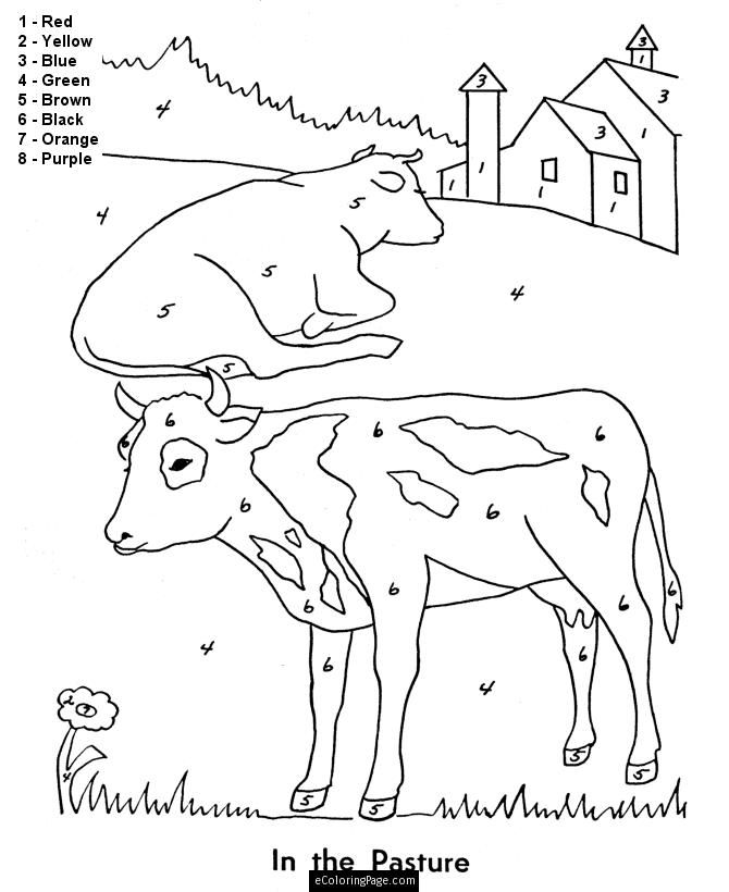 Color By Numbers Farm Animals Cows Coloring Page
