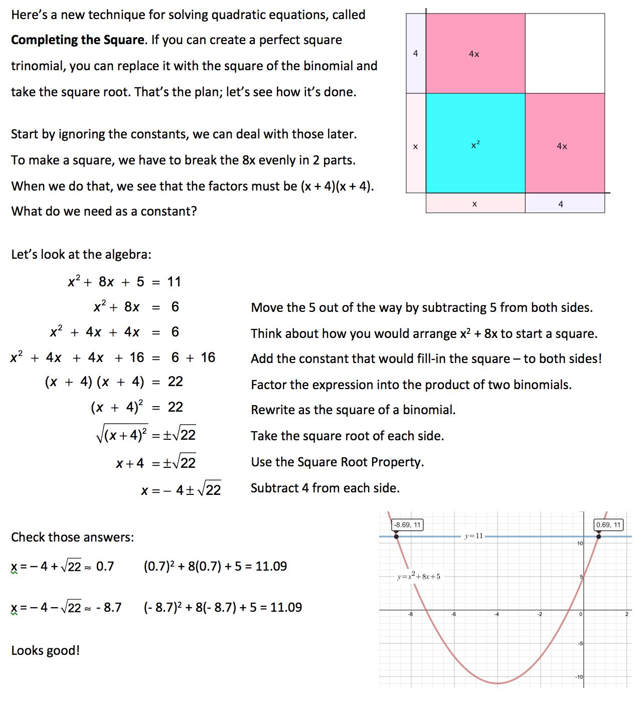 Jensilvermath My Visual Approach To The Quadratic Formula