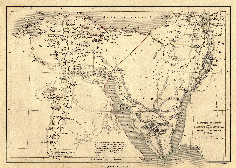 Biblical Map Journey Of The Israelites Lower Egypt Map Peninsula Of