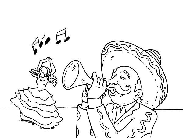 Blowing Trumpet For Dancer In Cinco De Mayo Coloring Pages Best Place To Color Coloring Pages Cinco De Mayo Mexican Fiesta