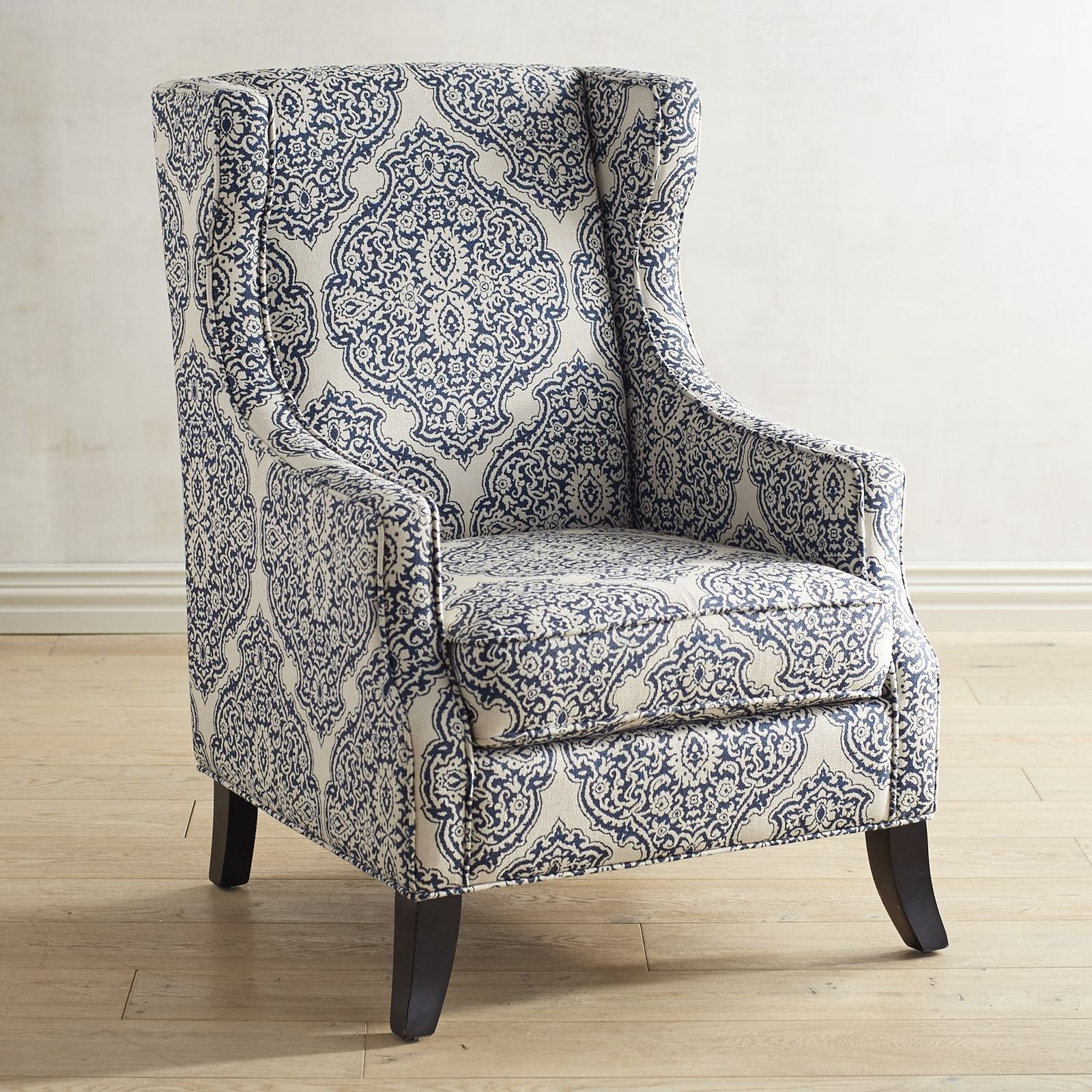 pier 1 imports alec indigo blue wing chair | central heating