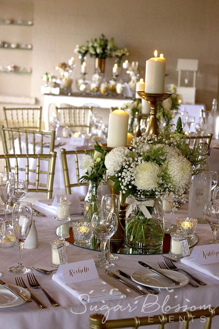 Classic White And Gold Wedding Reception At Eschol Park House Styling And Flowers Wedding Reception Table Decorations Gold Wedding Reception Nantucket Wedding
